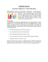 TBT-10 CLEANING CHEMICALS – KNOW THE RISKS